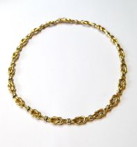 18ct gold necklace of knotted tubular form, 47g.