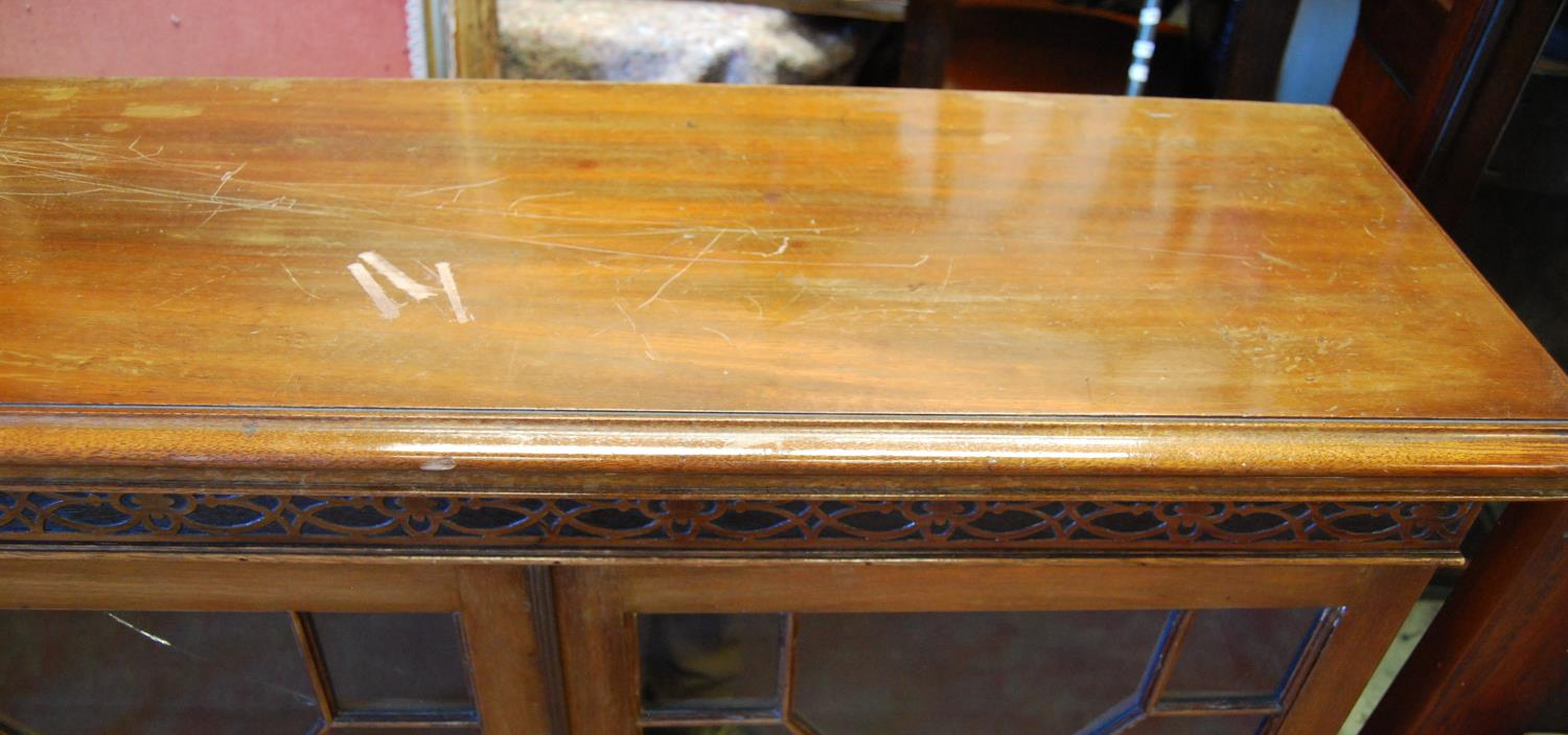 George III style mahogany bookcase, the moulded rectangular top over closed fretwork frieze, four - Image 2 of 3