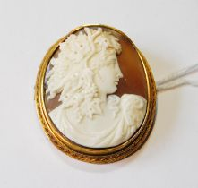 Victorian cameo brooch with oval portrait of a woman, probably 15ct gold.