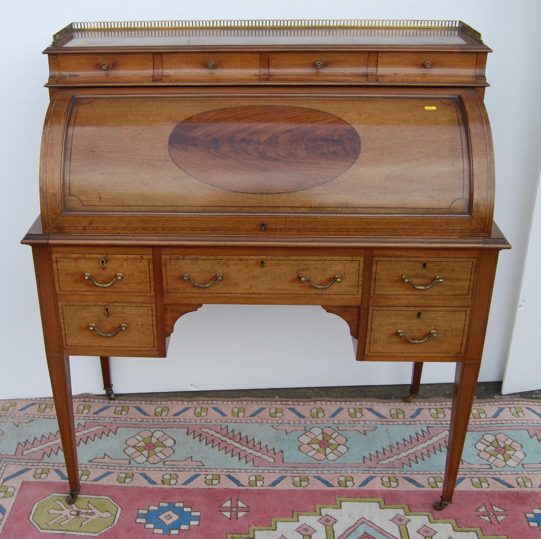 Edwardian mahogany cylinder desk made by John Taylor & Son, Edinburgh, May 1915, the pierced - Image 5 of 6