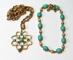 Gold bracelet with turquoise and pearls and a similar pendant with necklet, gross 16g.