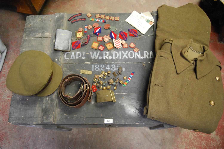 Military ephemera relating to Captain WR Dixon, 182485 Royal Artillery including cap, trench coat,
