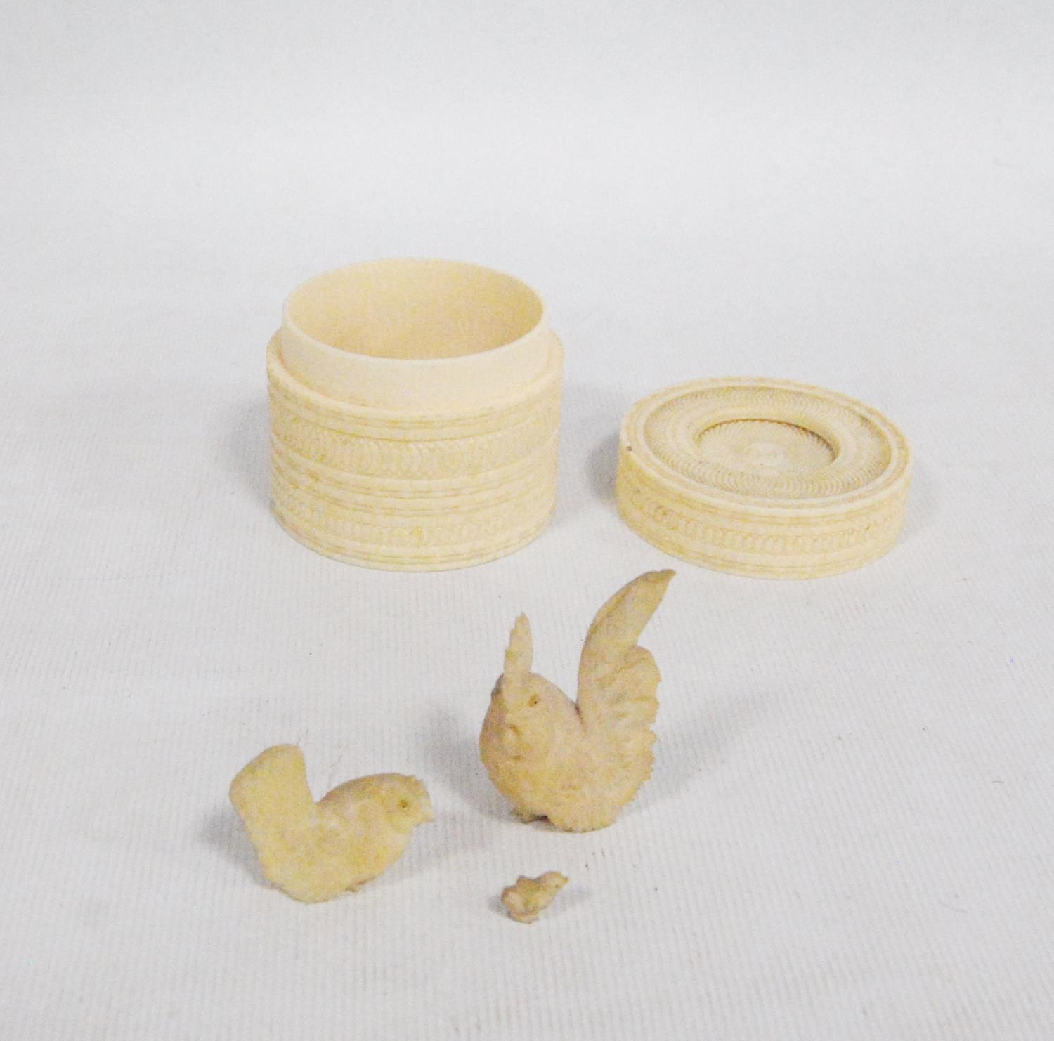 19th century Japanese carved ivory basket and lid, 5.5cm diameter and 4.5cm high, also a carved - Image 3 of 3