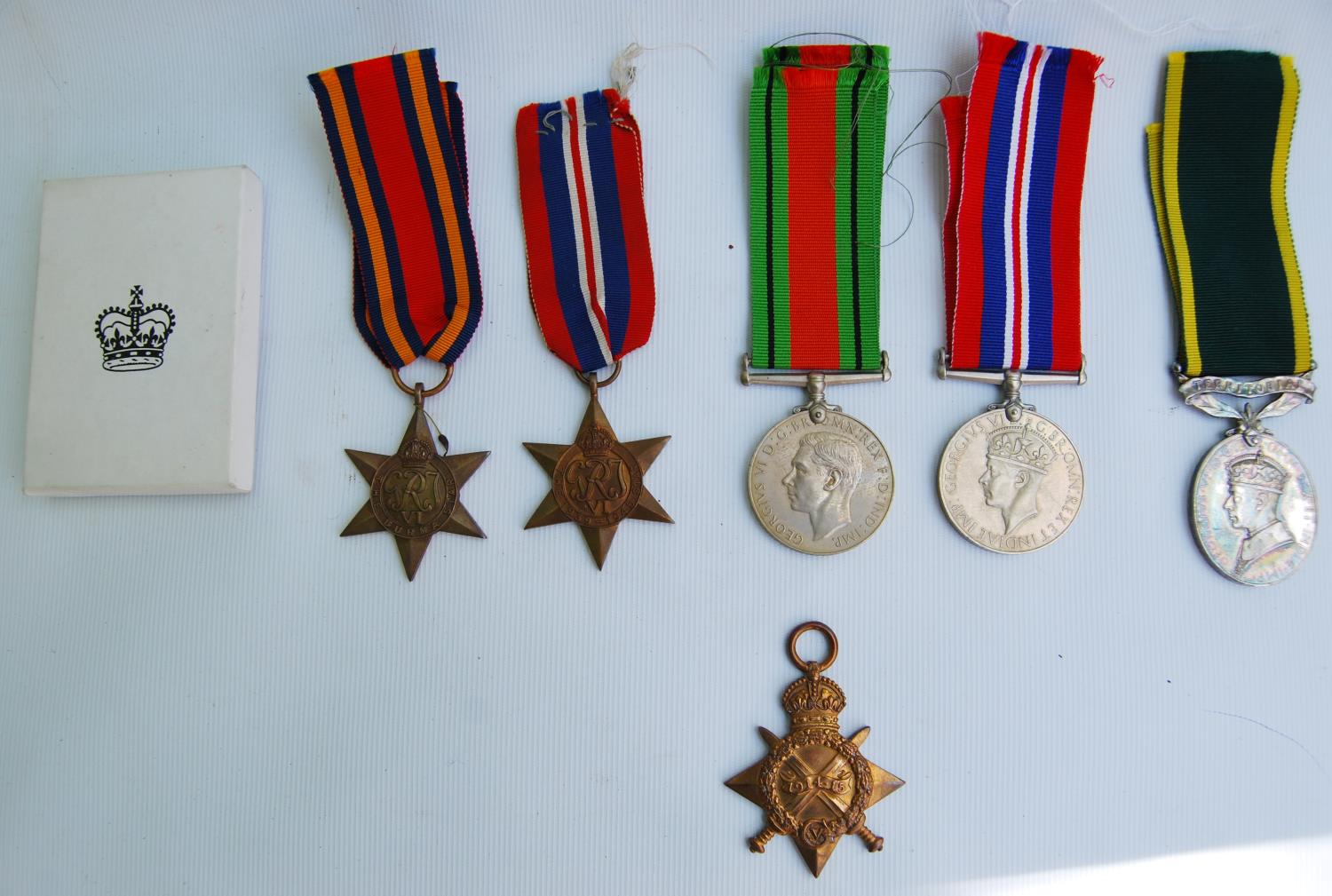 World War I medal group for Private D Kennan, Royal Scots, 3189854, Territorial Efficient Service
