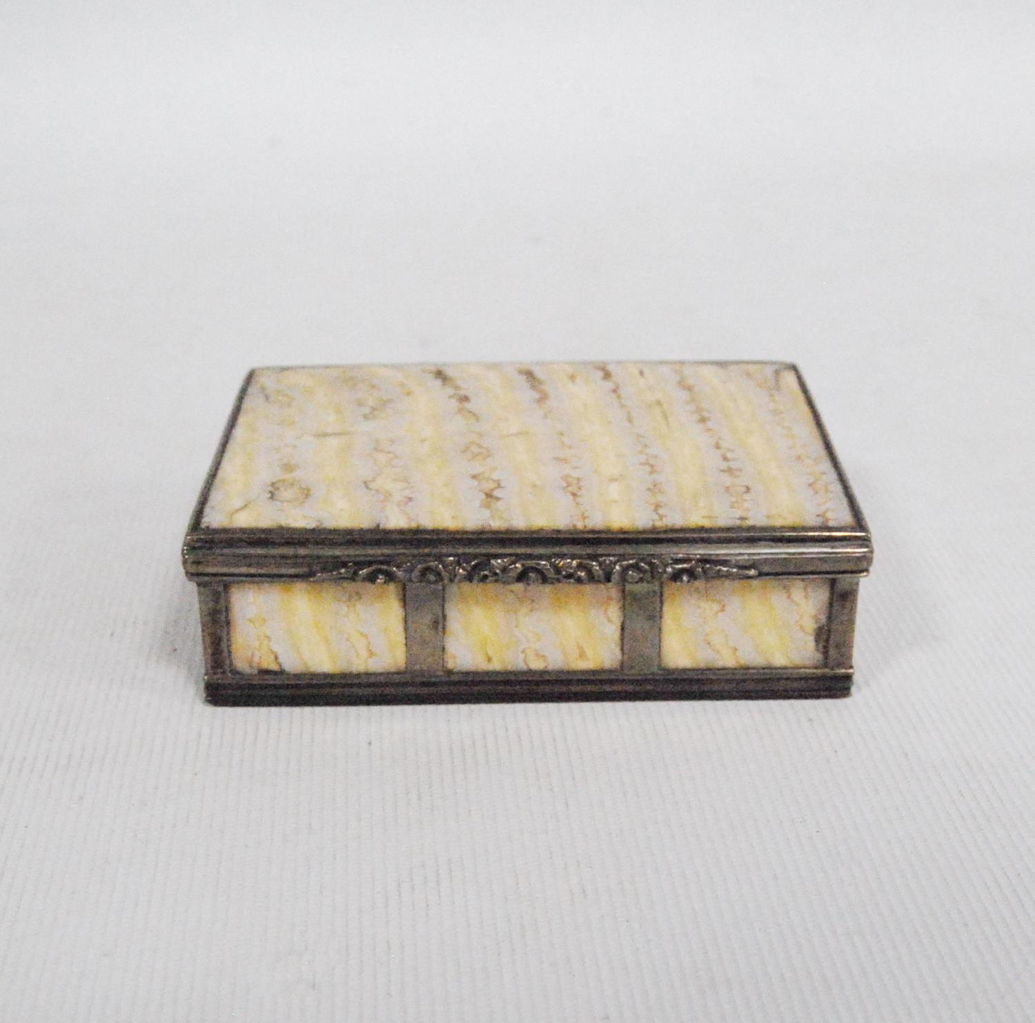 Elephant's tooth box with white metal banding and floral clasp, 7.5cm wide, 2cm high and 5.5cm deep. - Image 3 of 3