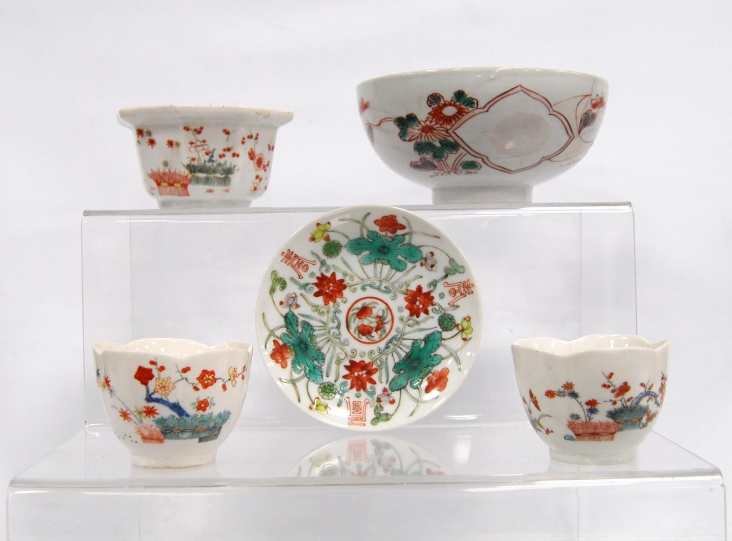 Two tea bowls, plate, octagonal bowl and a larger bowl, 14.5cm diameter. (5)
