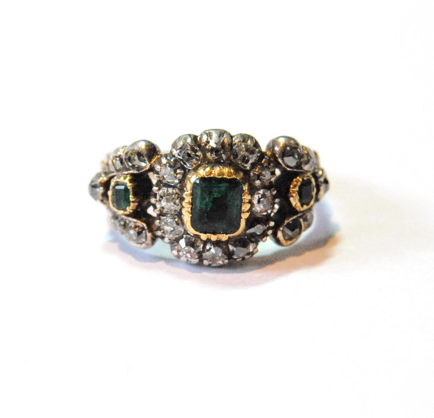 Late Georgian ring with three emeralds and old-cut diamonds, size M½.