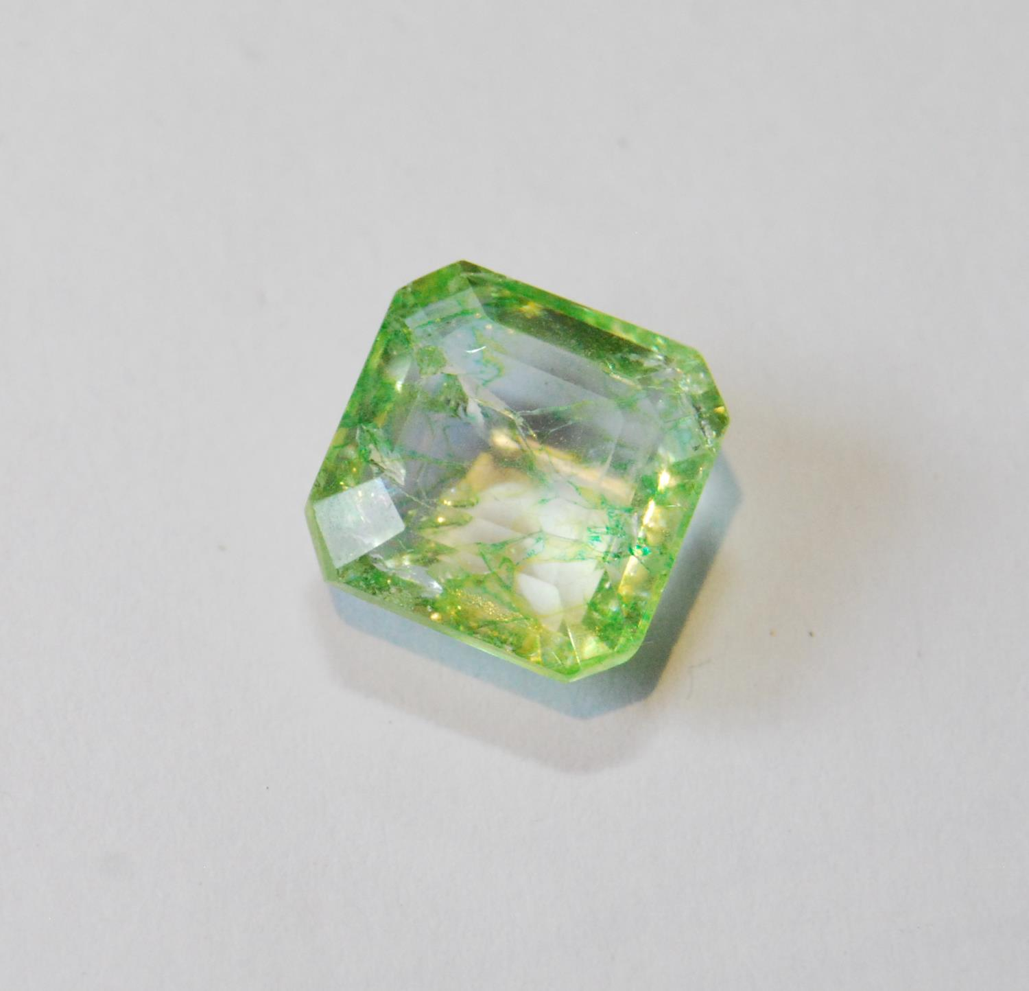 Unmounted square emerald with NGL report, given as 8.65ct, 12.24mm x 7.26mm, treated, of almost lime - Image 2 of 5