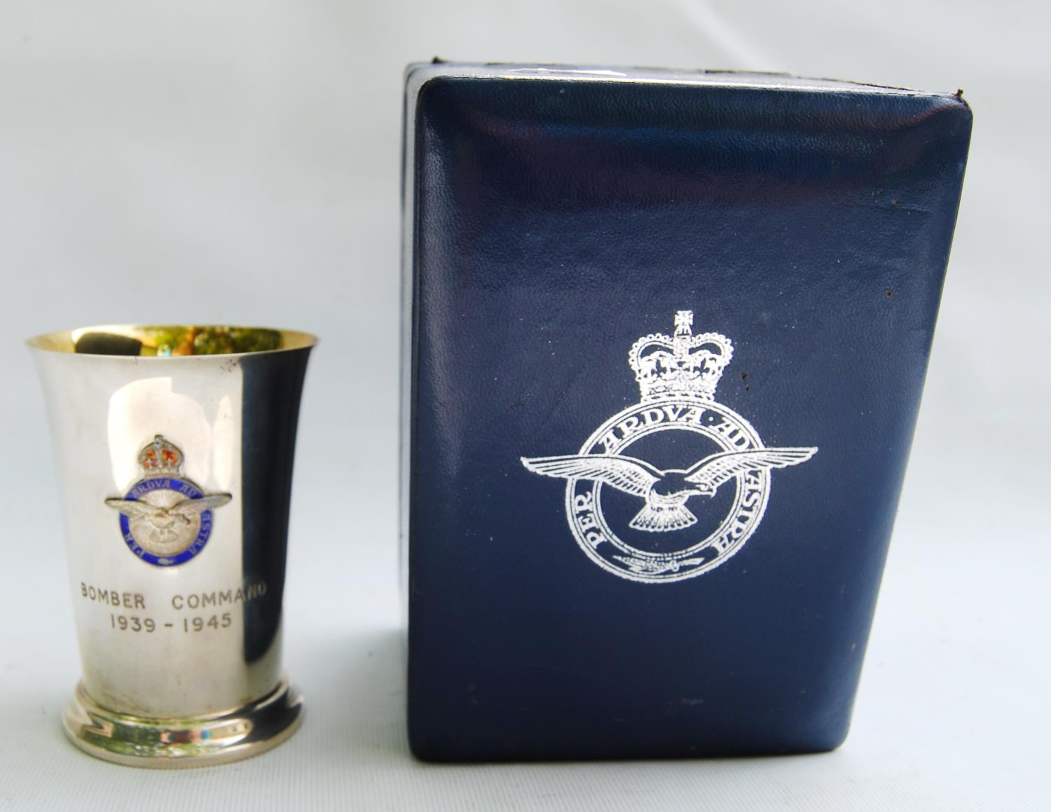 RAF silver beaker engraved, 'Bomber Command 1939-1945' with applied enamel badge and gilt lining,