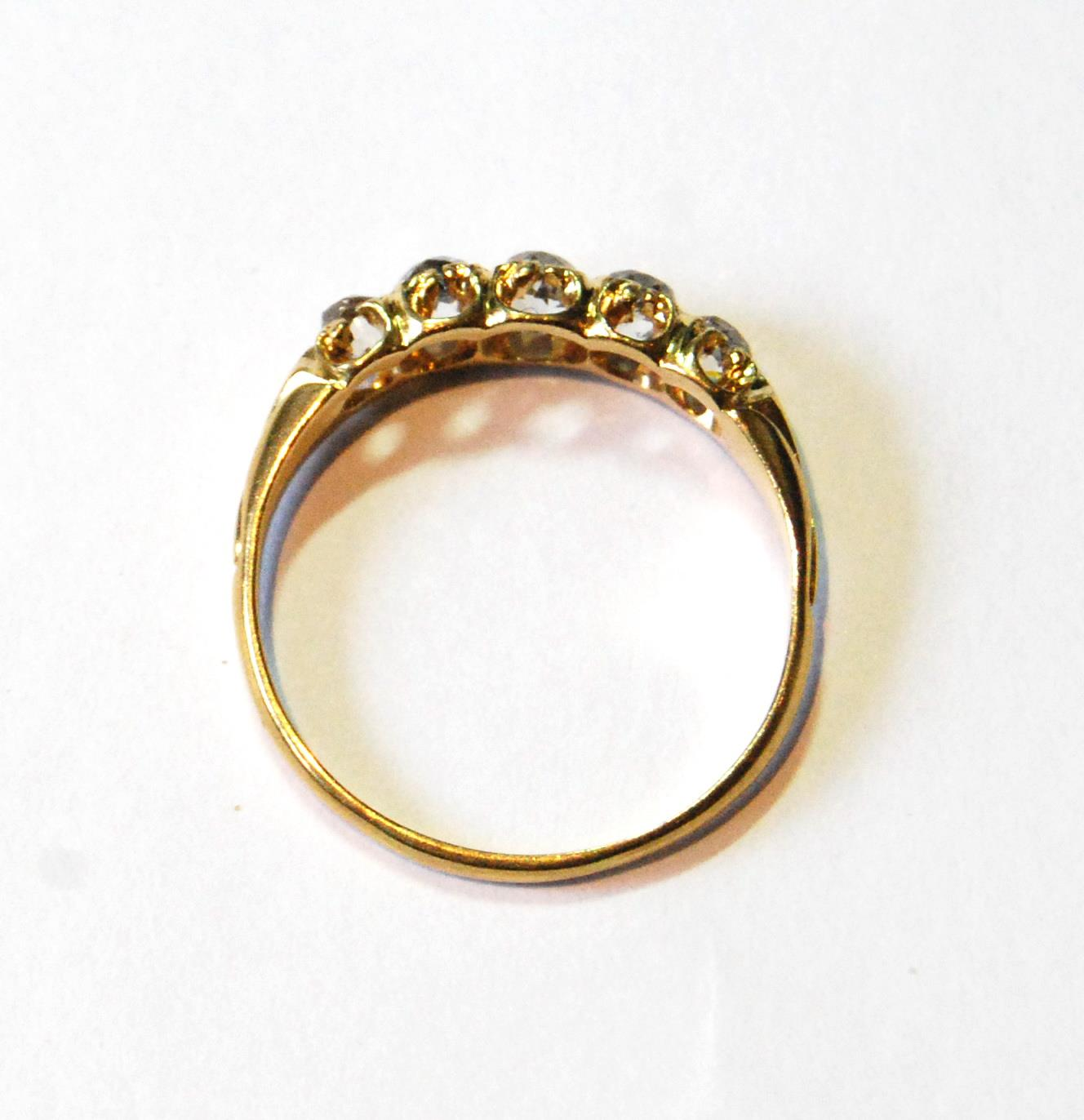 Victorian diamond five-stone half hoop ring, old-cut brilliants, in gold, size Q. - Image 3 of 4