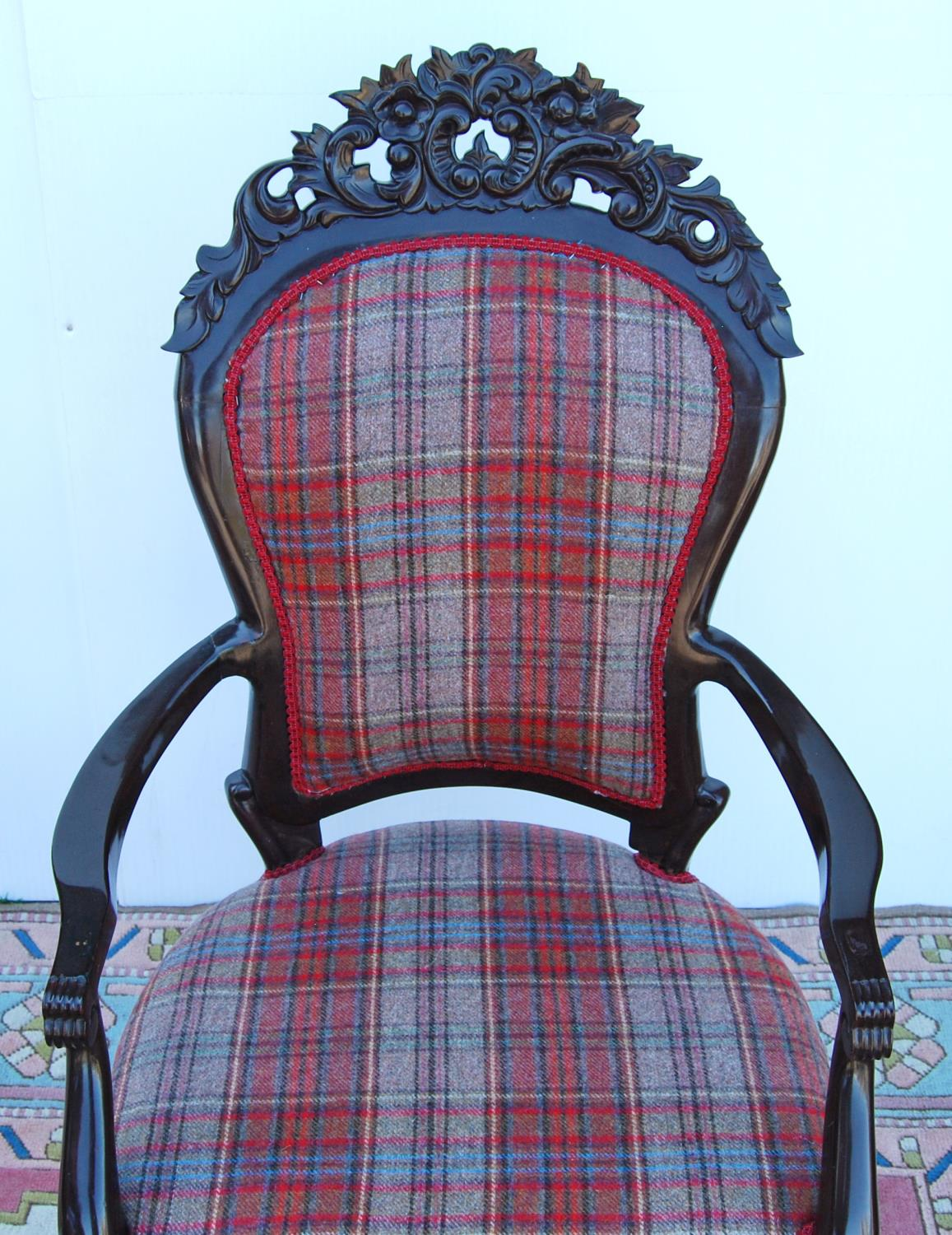 Pair of Victorian-style open armchairs with cushioned backs mounted by floral carved panels, - Image 3 of 3