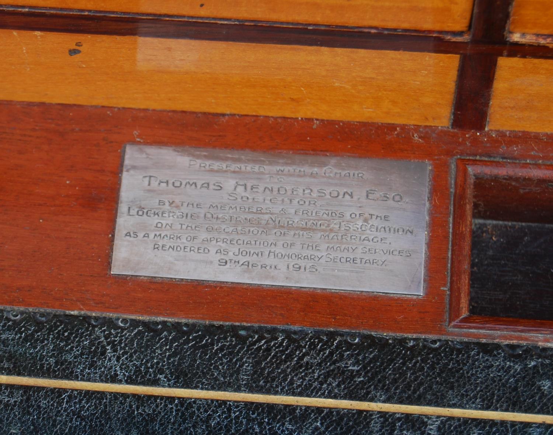Edwardian mahogany cylinder desk made by John Taylor & Son, Edinburgh, May 1915, the pierced - Image 4 of 6