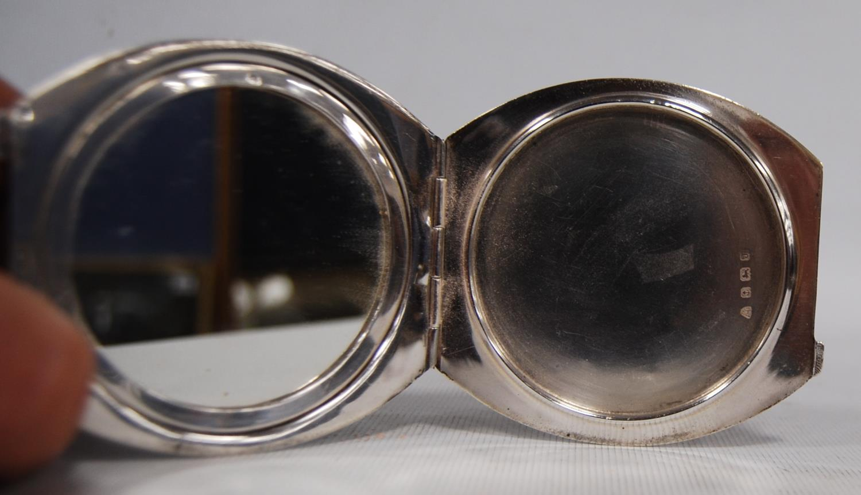 Art Deco silver and enamel hinged compact, Adie Brothers, Birmingham 1933, the black enamelled lid - Image 4 of 5