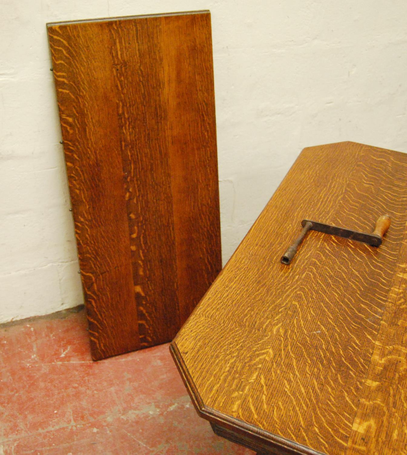 Late Victorian oak extending dining table, the moulded rectangular top with canted corners, on - Image 3 of 4