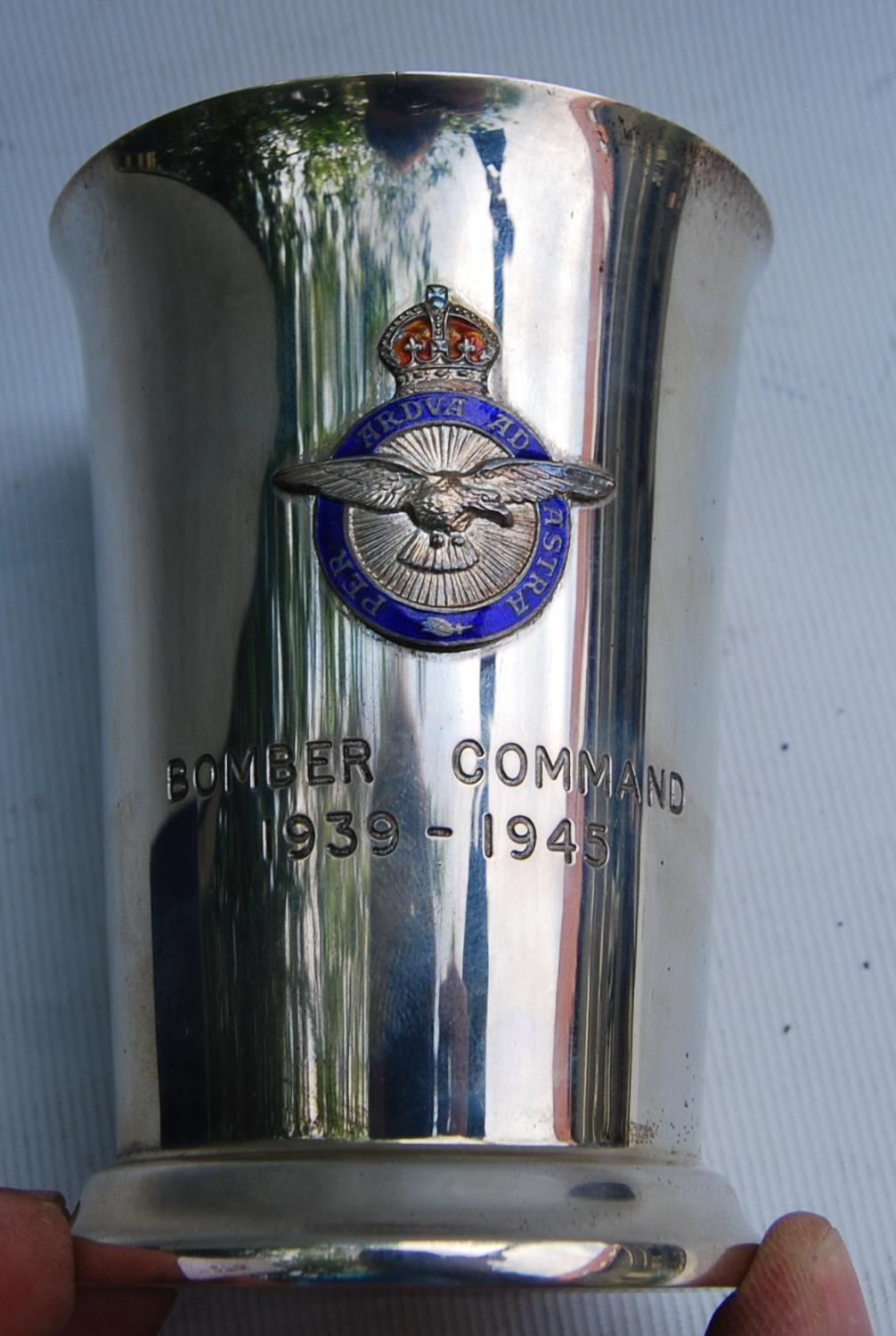 RAF silver beaker engraved, 'Bomber Command 1939-1945' with applied enamel badge and gilt lining, - Image 5 of 5