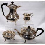George V Sheffield silver four-piece tea set by Edwards & Sons, Glasgow 1911, comprising teapot,