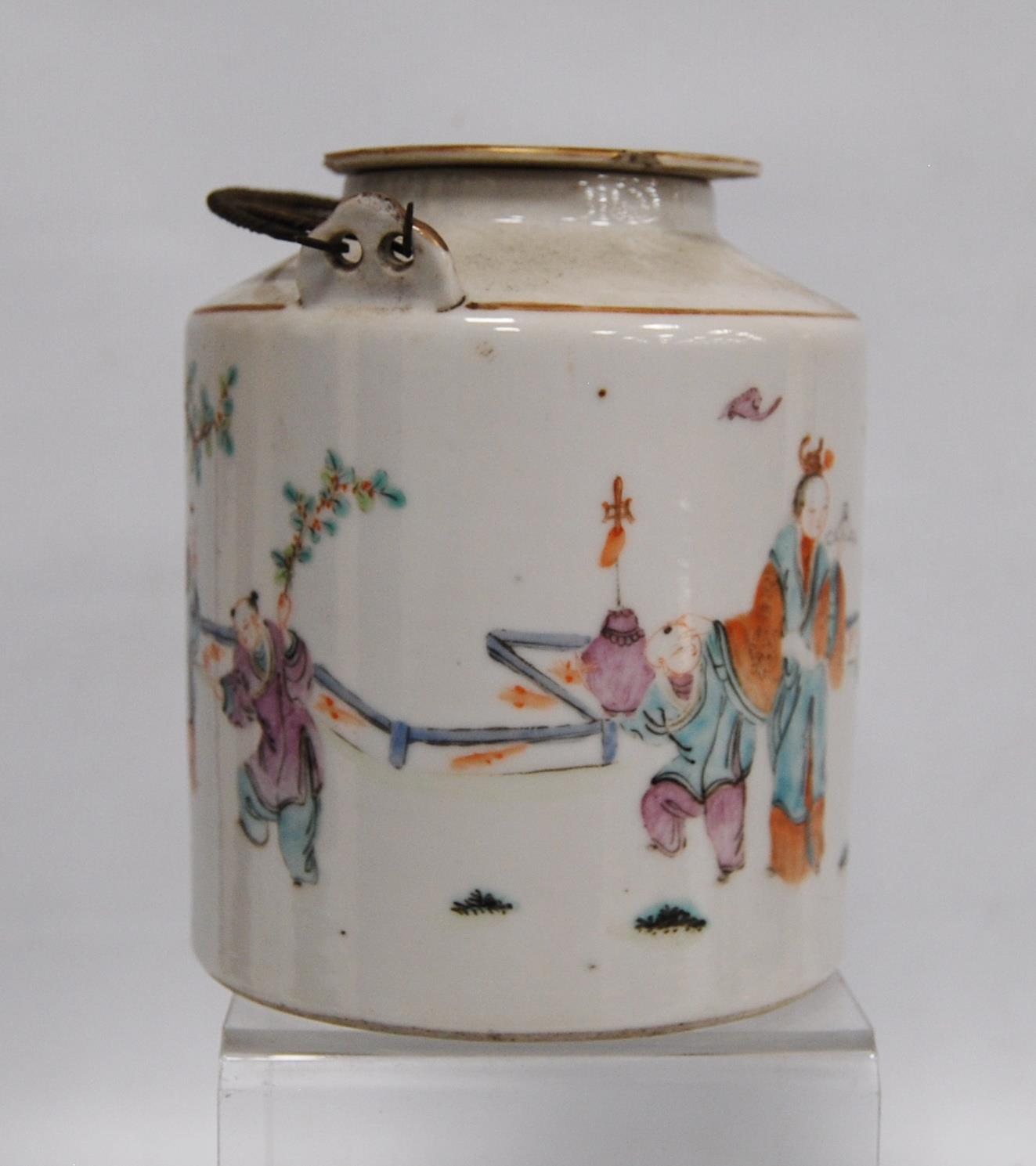 Canton famille rose teapot decorated with children and their teacher, marks to the base, 14cm high. - Image 5 of 8