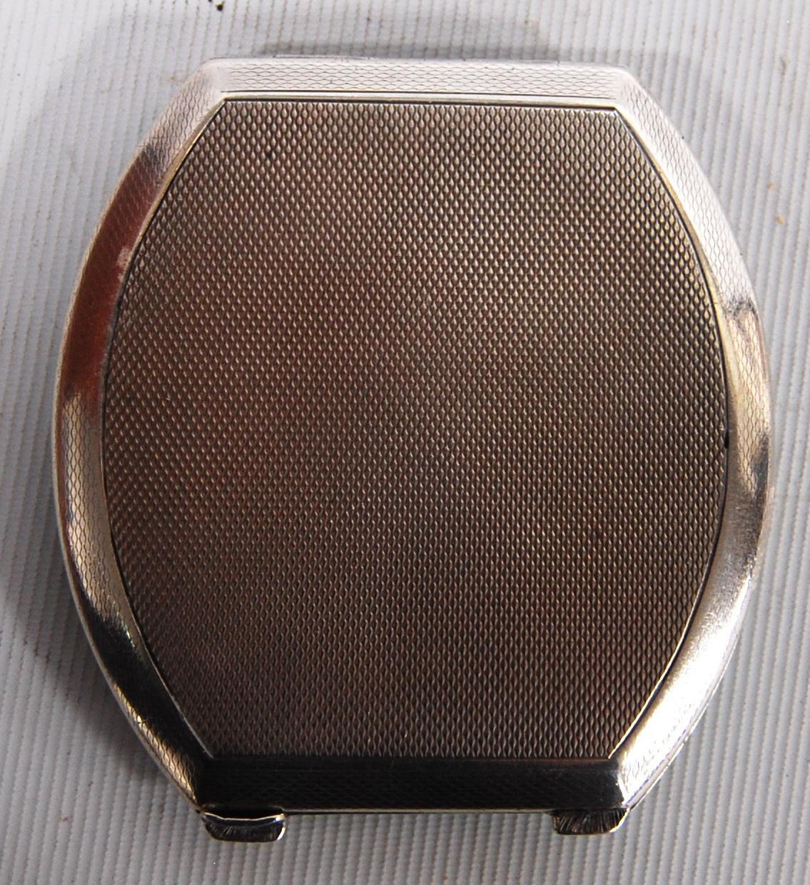 Art Deco silver and enamel hinged compact, Adie Brothers, Birmingham 1933, the black enamelled lid - Image 5 of 5