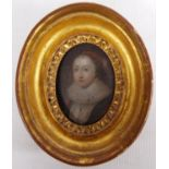 18th/19th century oval portrait of a lady in Elizabethan costume with red braid in her hair, large