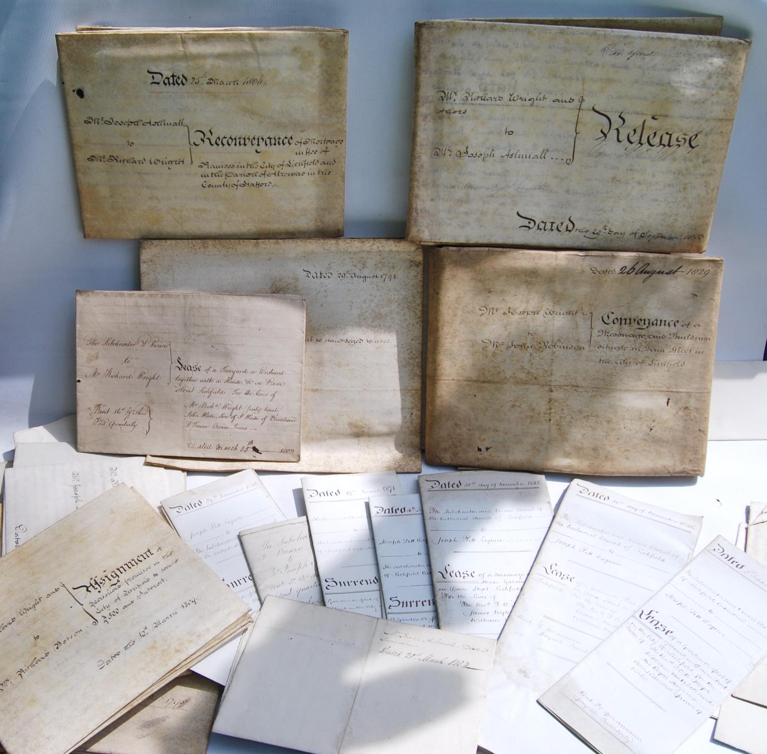 19th century and other vellum and paper deeds relating to Lichfield, Dam Street, predominantly