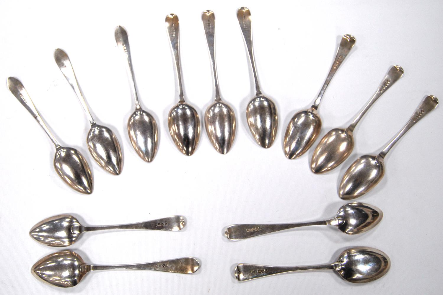 Twelve late 18th century/early 19th century silver dessert spoons, to include three by William Auld, - Image 2 of 5