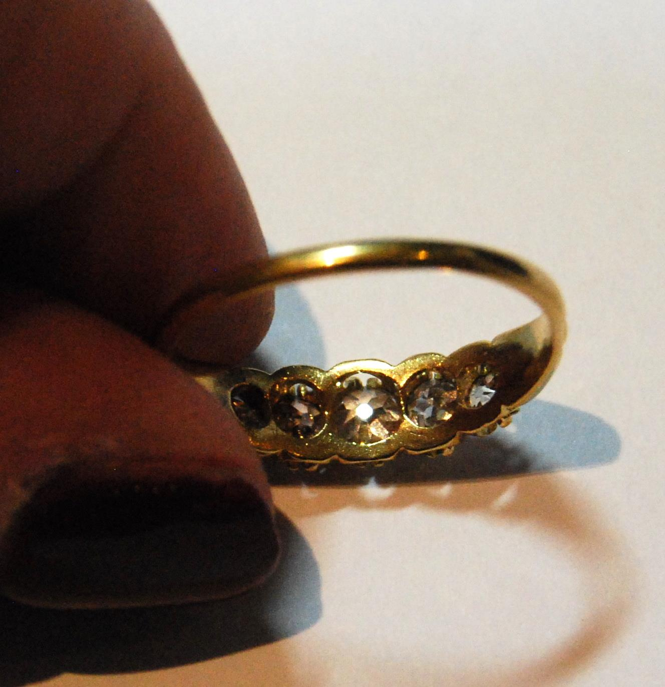 Victorian diamond five-stone half hoop ring, old-cut brilliants, in gold, size Q. - Image 4 of 4