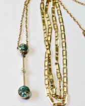 Gold pendant with two blue zircons, a pearl between, upon a knife edge, probably 15ct, also a gold