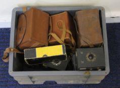 Box of vintage box cameras, mostly Kodak to include a No1A pocket kodak and a No2 Brownie.