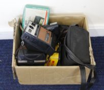 Box of vintage cameras mostly 1970's to 1990's, to include a Kodak EK100 instant camera and a