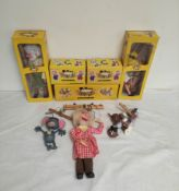 Collection of vintage boxed Pelham puppets including A9 Mouse, SM Farmer, SL3 Fairy, SL10 Wicked