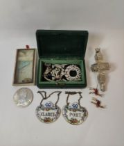 Antique paste brooch, another Art Deco, seven similar items, two 'bambi' brooches, a rattle (a.f),