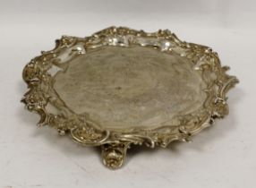 Silver engraved waiter with scroll border by Walker & Hall, Sheffield 1900, 22cm, 12 1/2oz / 390g.