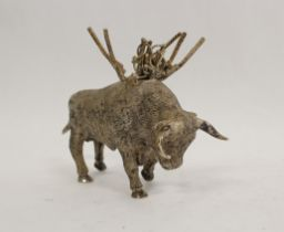 Spanish silver cocktail stick holder modelled as a bull with muleta and swords 'Sterling 925'