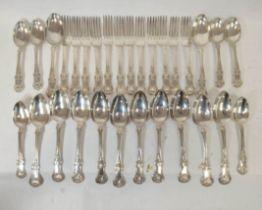 Part service of single struck Kings pattern silver by I. Walton, Newcastle 1845, comprising twelve