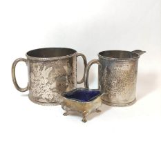 Silver engraved sugar bowl and milk jug, Edinburgh 1919 and Sheffield 1878, 372g.