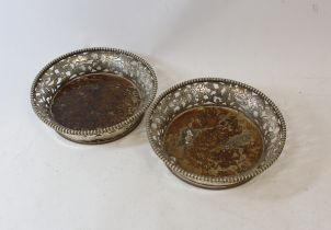 Pair of decanter stands, matching, Import Marks 1908.
