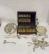 Box containing an e.p. waiter, a part set of fish cutlery, cased, sundry flatware, entree dishes and