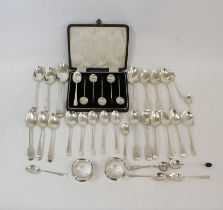 Twenty nine silver tea and other spoons, a set of six coffee spoons with bean ends, cased, and two
