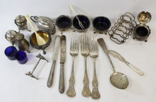 Embossed silver circular salt, 1863, eight other condiments and various other items, some e.p.