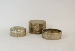 Silver box of scallop shape, Import Marks 1900, another unmarked and a half engraved bangle,