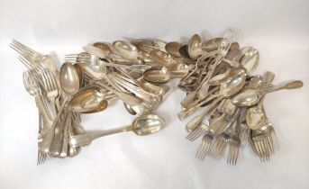 Service of fiddle and thread pattern silver initialled 'P' comprising; twenty table spoons, twelve