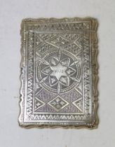 Silver engraved card case monogrammed and dated 1873 by George Unite, Birmingham 1873, 88g.