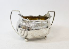 Silver sugar bowl of ovoid shape, engraved and part fluted, probably by 'Thomas Wallace', 1808,