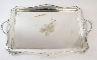 E.p. rectangular tea tray Midland Bank Carlisle 1930, 63cm.