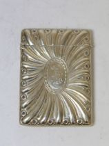 Silver card case with radiating embossing by W. Comyns 1899, 138g.
