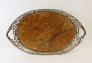 Dutch burr walnut oval tray with pierced and engraved silver gallery, Import Marks, 1908, 50cm.