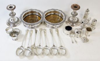 Pair of Sheffield decanter stands, a pair of similar candlesticks, seven soup spoons, two napkin