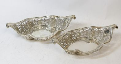 Pair of silver sweetmeat baskets of an oval lobed shape, pierced and embossed, Sheffield 1896, 6oz /