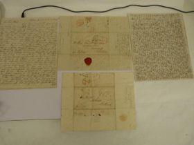 "McNAB FRANCIS. Australia.6 detailed manuscript letters, each a folded folio sheet ""ship letter"""