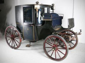 BOW FRONTED BROUGHAM by Hutton & Son of Dublin. In black with small coat of arms to the door, the